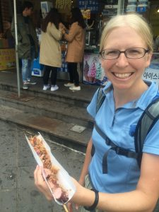 Hungry? Bruleed squid skewers