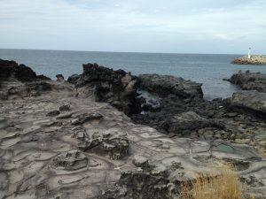Volcanic rocks on the shore