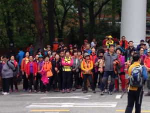 A few dozen of the thousands of brightly dressed hikers in the park
