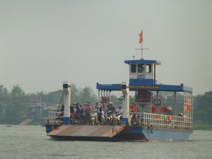 A loaded ferry