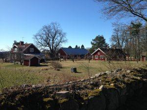 A nearby farmhouse