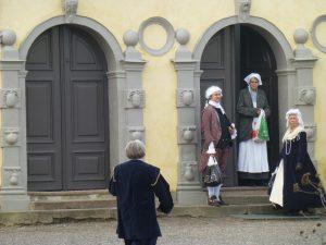 Reenactors at a castle