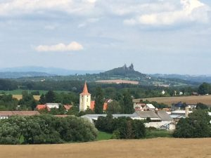 Distant view of Hrad Trosky