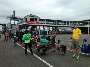Families going camping by bicycle, whom we met on the ferry!