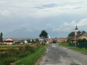 Looking back at Lubica with the Tatras in the background