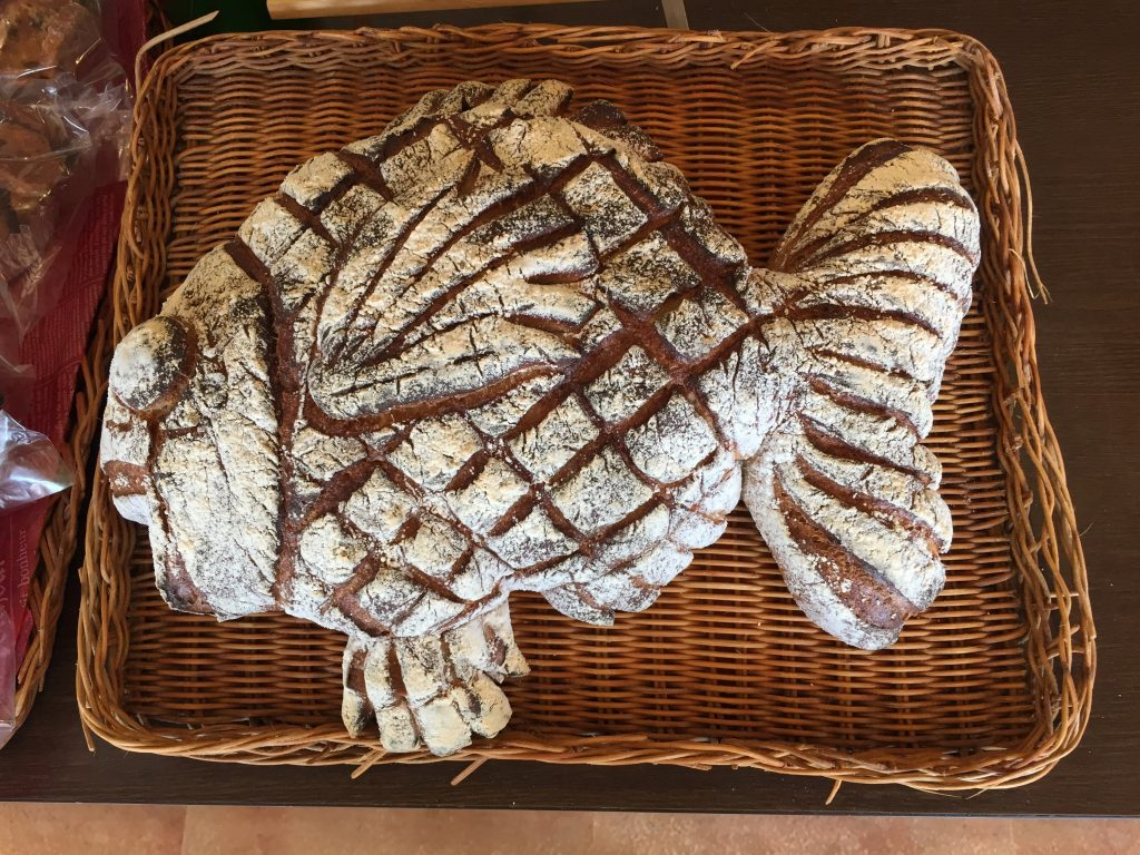 Distinctive bread at Marchen Bakery in Anamizu